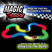 Magic Tracks Bend Flex Glow in the Dark Electric LED Light Up Race Car Roller Assembly Toy 165/220pcs Race Track + 1pc LED Car