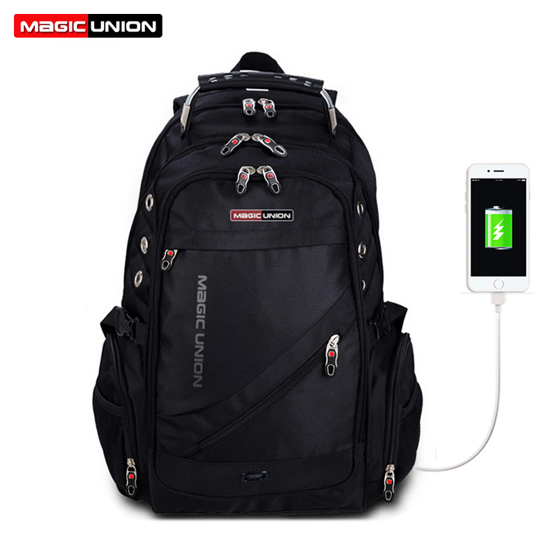 MAGIC UNION Laptop Backpack External USB Charge Computer Backpacks Anti-theft Waterproof Bags for Men Women school backpack<br>