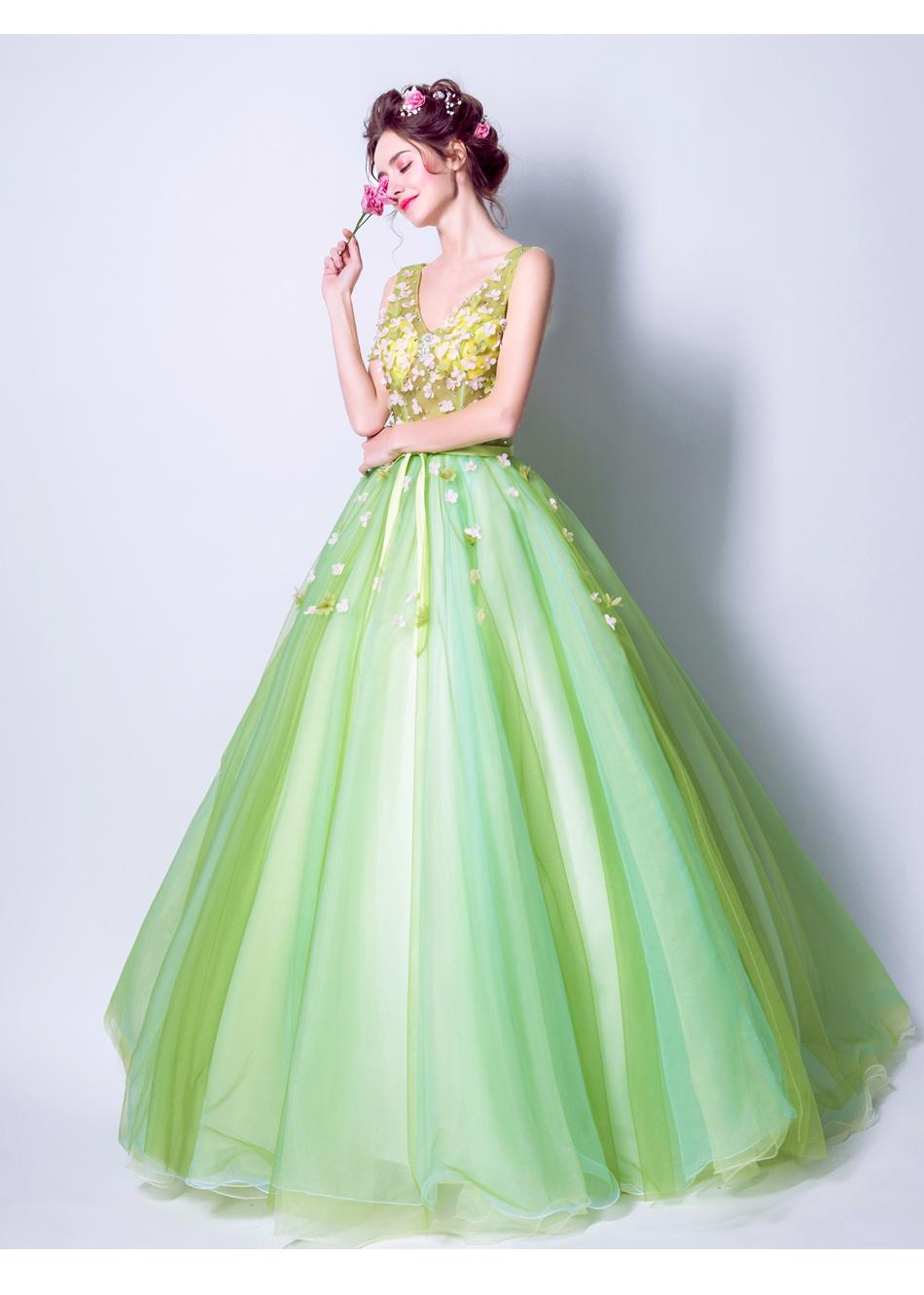 Angel Wedding Dress Marriage Bride Bridal Gown Vestido De Noiva 2017Soft powder, Qingjian Lvxian beauty, petals, green 9718 18