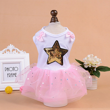 Summer Dog Dress Small Pets Dogs Puppy Princess Sequins Star Bowknot Party Dress for Chihuahua Teddy Pets Costume