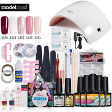 Nail Art Pro DIY Full Set Soak Off Uv Gel Polish Manicure set 24W Curing Lamp Kit any 5 colors&base top Set nail gel nail tools(China)