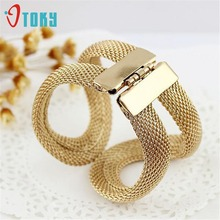 Bangles OTOKY Fashion Design Gold Alloy Wide With Spring Mesh Hinged Cuff Bracelet & Bangle Jewelry Nice Gifts Apr24