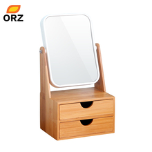 ORZ Bamboo Box With Mirror Drawer Cosmetic Makeup Organizer Earrings Jewelry Storage Box Desktop Organizer Makeup Mirror(China)