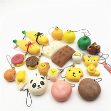 Novelty Mochi Bun Banana Orange Kapibarasan Rilakkuma Cake Maple Leaf Fruit Squishy Charm Squeeze Toy Stretch Kids Joke Toys