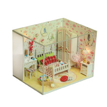 Q007 New arrive Doll House Furniture Diy Miniature bedroom Dust Cover wooden dollhouse 3D Model Kits