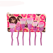 New Design 6pcs Rose Shaped Makeup Brushes Foundation Powder Make Up Brushes Blush Brush Set Pincel Maquiagem With Flower Bag(China)