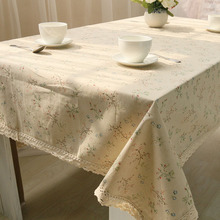 Cheap 1PC Korean Style Beige Cloth Floral Lace Edge Linen Tablecloth For Hotel Coffee Table Cover Home Dining Table Cloth Cotton(China)
