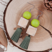 8SEASONS New Woman Fashion Drop Earrings Square & Round Wood Beads Dark Green Suede Velvet Tassel Pendant 99mm x 20mm, 1 Pair