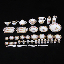 New Doll House 40 pcs Flower Style Dollhouse Miniature Dining Ware Porcelain Tea Set Dish Cup Plate Flowers Dolls Accesssories