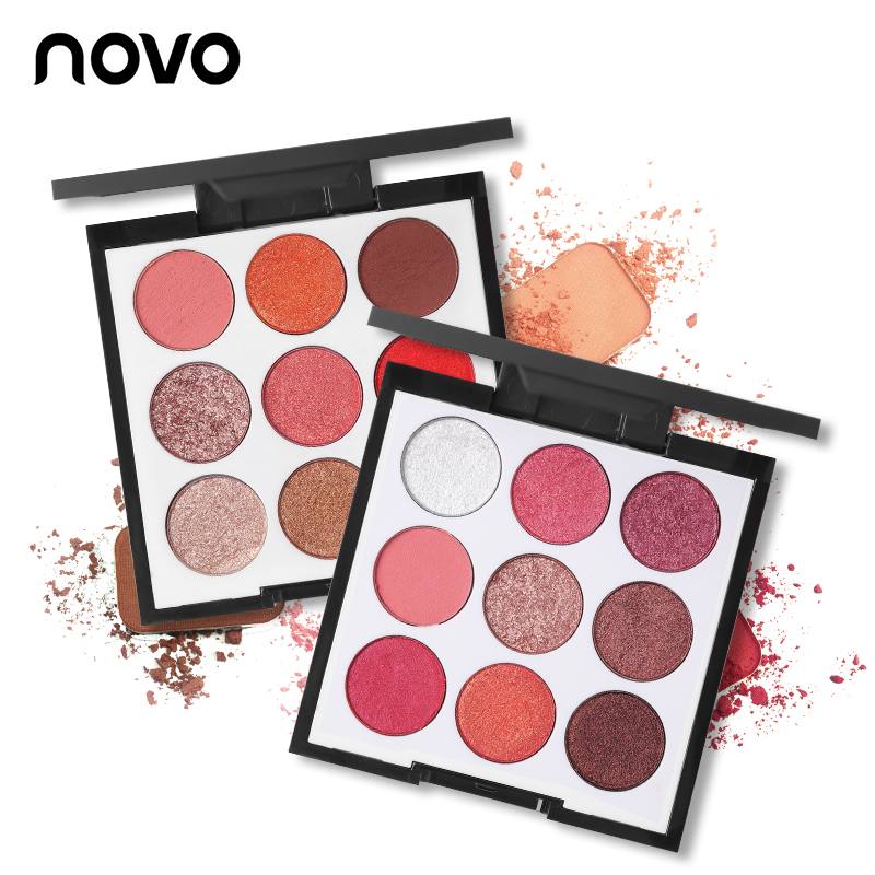 Novo Makeup Brand 9 Color Smooth Shimmer Eyeshadow Palette Wine Red Matte Eye Shadow Wet and Dry(China)