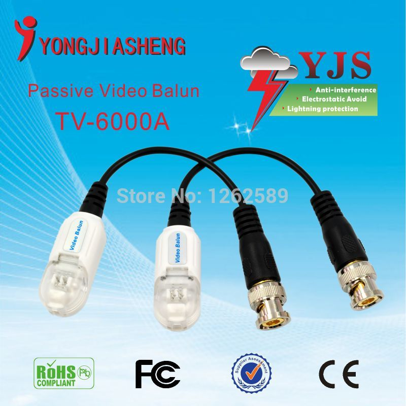 Single Channel Passive Video Balun lightning protection Passive Video Balun UTP Transivers/connector for cctv cameras 10PCS<br><br>Aliexpress