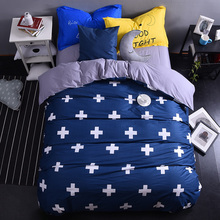 navy blue cross modern cotton bedding set king queen size doona/duvet cover bed sheet pillow cases bed linen set