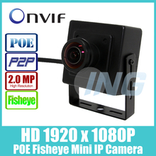 POE Fisheye HD 1920 x 1080P 2.0MP Security Mini Type Indoor IP Camera Metal Camera ONVIF P2P IP CCTV Cam System