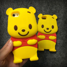3D Winnie Pooh Animal Silicone Cell Phone Protector Cover Shell case for iPhone 7 4 5 5S SE 6 6S PLUS touch 5 S3 S4 S5 NOTE 2 /4