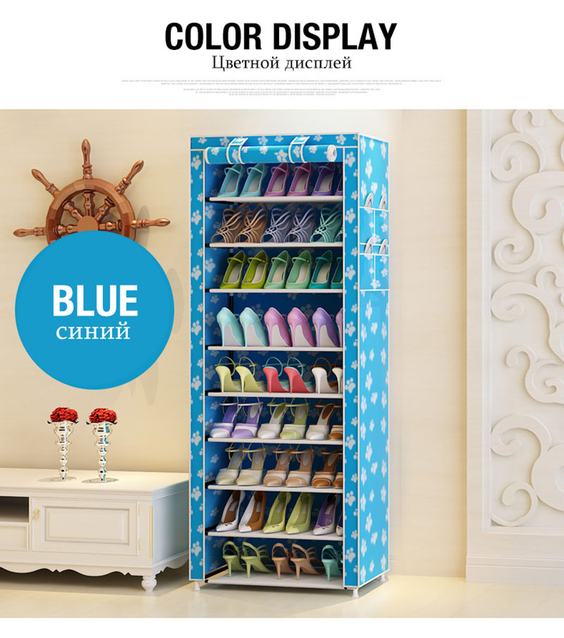Multi-purpose Oxford Cloth Dustproof Waterproof Shoes Cabinet Shoes Racks 10 Layers 9 Grids Shoe Organizer Shelf Shoes Furniture 9