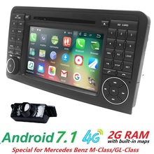 "7""CarGPS Navigation forMercedes Benz ML GL W164 ML300 ML350 DVD Radio Android7.1 iPod WIFI 4G USB SD CAM-IN OBD2 DAB+Reverse Cam"