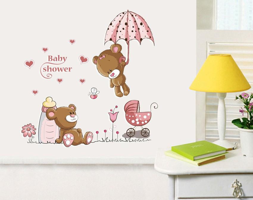 HTB1Vu2lm8fH8KJjy1Xbq6zLdXXah - Pink Cartoon Cat Rabbit Flower Wall Sticker For Baby Girls Kids Rooms