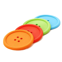 SZS Hot 5 Colors Round Button Shaped Non-slip Insulated Silicone Cup Mats Coasters Holders