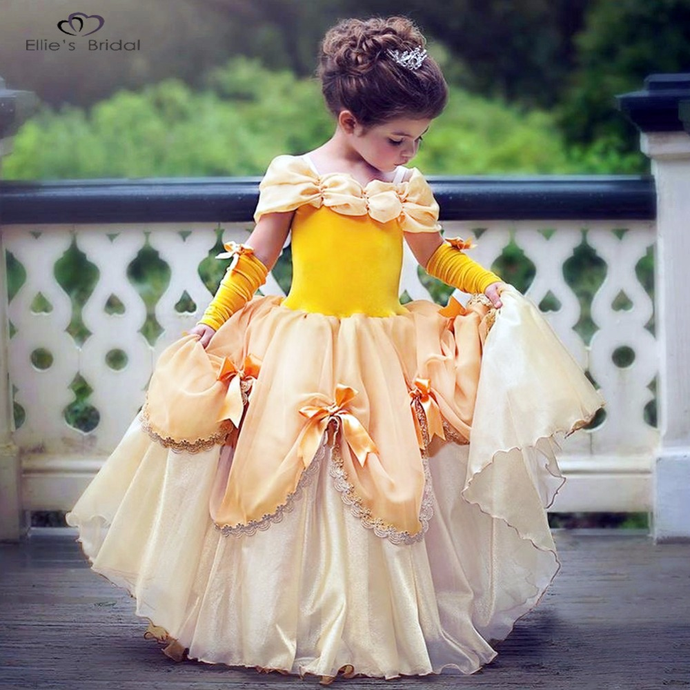 ELLIES Bridal Beautiful Girls Dress Princess Dress Girl Belle Dress Cosplay Costume Party Dresses Fancy Clothes for Christmas<br>