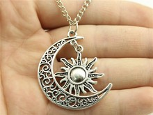 WYSIWYG Women Fashion necklace, Crescent Moon and Sun charms Necklace 70CM Sweater chain necklace