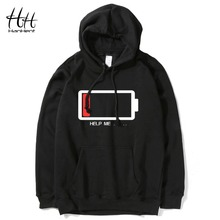 HanHent HELP ME Energy Low Hoodies Men Hip Hop Streetwear Printed Sweatshirts Male Fashion Creative Funny Hoodie Boys Plus Size(China)