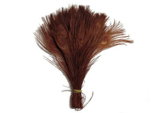 200pcs 10-12inch brown peacock eye feather peacock feather for party event design weddings(China)