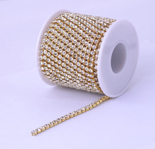 10yards/roll Golden Base Densify Claw Shiny Strass SS6-SS18 Crystal AB Rhinestone Cup Chain For Making Crafts