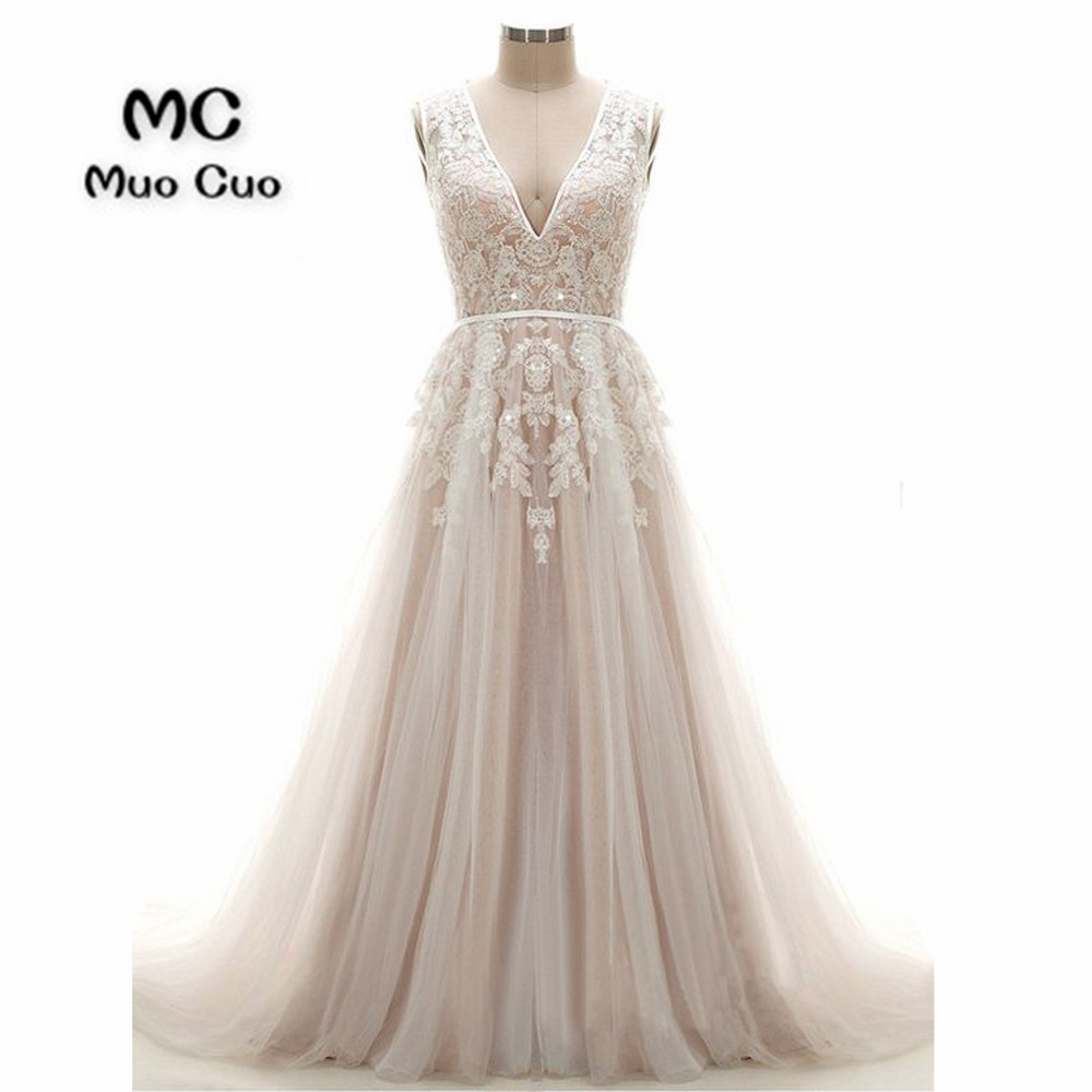 A-Line V-Neck Court Train Pearl Pink Tulle Wedding Dress with Appliques Sequinss