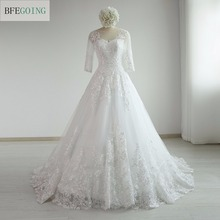 Buy White Lace Appliques Scoop Ball Gown Wedding dress Chapel Train Three Quarter Sleeves Bridal Gown Custom made for $159.99 in AliExpress store