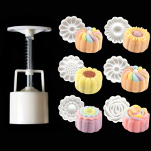 50g 3D Rose Flowers Mooncake Mold 1 Barrel+6 Stamps Set Hand Pressure Fondant Moon Cake Mould DIY Baking Accessories(China)