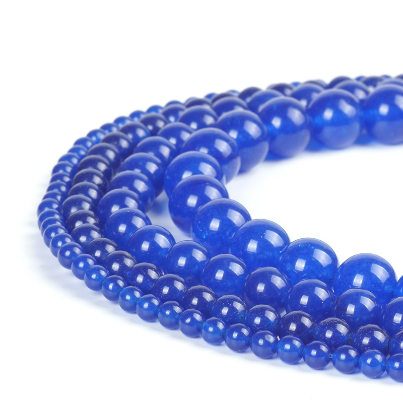 "New 8mm Sri Lanka Deep Sapphire Round Loose Gemstone Beads 15/"""