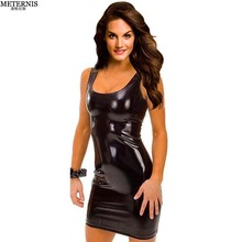 Buy black sliver gold women leather sexy lingerie babydoll pole dance low cut erotic lingerie baby doll sexy costumes clubwear 506