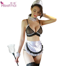 Feeetmoi Maid Erotic Lingerie Transparent Deep V Low Chest Sexy Lingerie Backless Womens Bow Strap Bras And Underwear Sets(China)