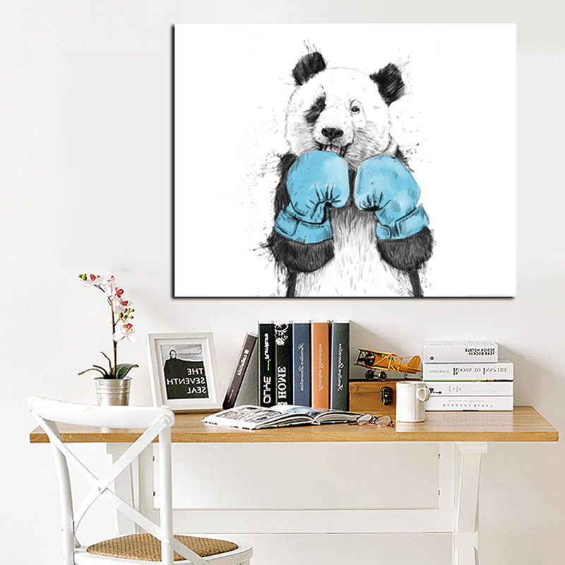 2017 Cute Cartoon Animal Minimalist Panda Boxer Oil Painting on Canvas for Kids Rooms for Living Room Poster Cuadros Decoration