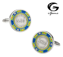 Men Gift Novelty Cufflinks Wholesale&retail 3 Colors Option Brass Material Fashion Gambling Chips $500 Design(China)
