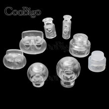 10pcs Ball Bean Cord Lock Stopper Toggle Clip Transparent Clear Frost Shoelace Sportswear Bag Parts Accessories Plastic #FLS002T