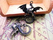 5pcs--Dragons Charms,Antique Tibetan bronze Huge Large Flying Dragons Charm Pendants 44x47mm(China)