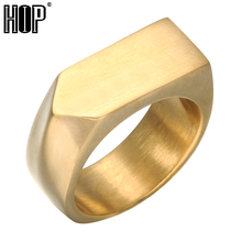 HIP Mens Gold Color Geometric Rings Titanium Stainless Steel Square Finger Signet Rings for Men Jewelry Male Ring(China)