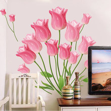 Romantic Flower Wall Stickers Living Room Bedroom Sofa TV Background Decals Mural Home Decor Wall Sticker Wedding Decoration