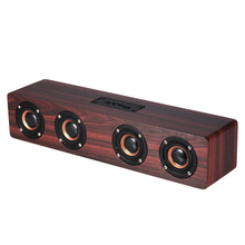 Portable HiFi Wooden Bluetooth Speaker 3000mAh 4 Speakers Shock Bass Loudspeaker Surppot TF Card AUX For TV Mobile Phones PC