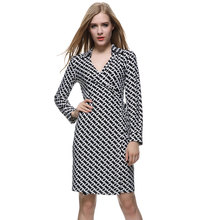 Robe Sexy 2017 Fall Woman Turndown Collar Long Sleeve Classic Chains Print Wrap Dress Ladies Black And White Dresses