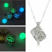 Noctilucent Box Pendant Necklace Tree Of Life Night Glowing In Dark Luminous Necklaces Vintage Jewelry Bijoux Three Colors