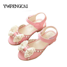 Girls Princess Flowers Sandals PU Leather Boxtie Flat Sandals Kids Sandals For Girl 2017 Summer Baby Girls Sandals