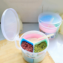 kitchen storage box plastic box organizer salt and pepper shaker cooking tools food container three grid box(China)