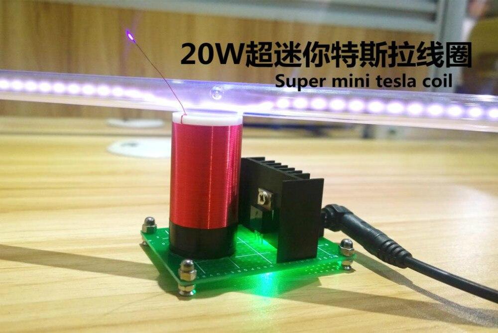 Small tesla coil level 20 watts power super mini teslas coil wireless transmission experiment<br>