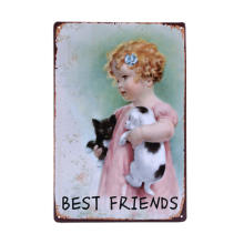 DOG & Cat Is BEST FRIENDS Retro Metal Tin Sign Home Decor Bar Cafe Wall Vintage Iron Poster Painting Gift 20x30cm A862