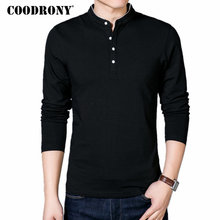 COODRONY T-Shirt Men 2017 Spring Autumn New 100% Cotton T Shirt Men Solid Color Tshirt Mandarin Collar Long Sleeve Top Tees 7608(China)