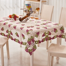 Kingart Hotel Hand Crochet Tablecloth Rectangle Embroidery Table Cloths Hollow Out Flower Table Cover For Wedding & Party Decora(China)