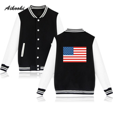 Aikooki USA Flag Baseball Jacket Capless Men Womens Hoodies And Sweatshirts United States Sweatshirt Canada Flag Jacket Clothes(China)