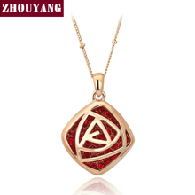 Top Quality N106 Red Rose Gold Color Fashion Pendant Necklace Jewelry Made with Austria Crystal Wholesale